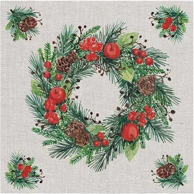 Servilletas para decoupage Wreath On Linen 33 X 33 cm.