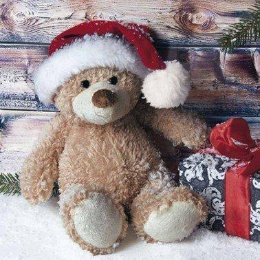 Servilletas para decoupage CHRISTMAS TEDDY WITH PRESENT 33 X 33 cm.
