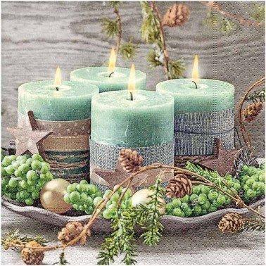 Servilletas para decoupage Four green candles 33 X 33 cm.