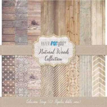 COLECCIÓN 12 PAPELES SCRAP NATURAL WOODS PAPERS FOR YOU