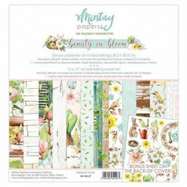 Set 12 papeles de Scrap MINTAY BY KAROLA 12X12'' - BEAUTY IN BLOOM