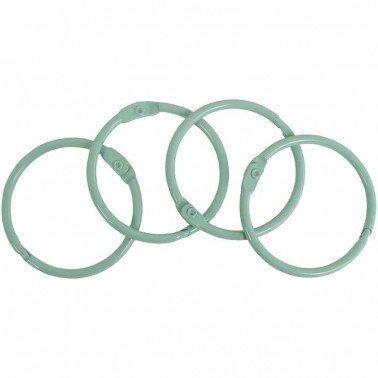 Set 4 anillas encuadernación metálicas ARTIS DECOR 35mm. VERDE MINT
