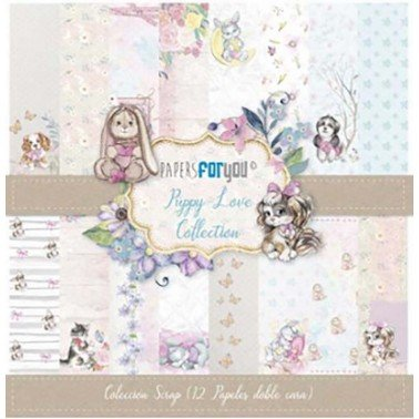 COLECCIÓN 12 PAPELES SCRAP PUPPY LOVE PAPERS FOR YOU