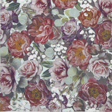 Servilletas para decoupage Vintage Flowers Green 33 X 33 cm.