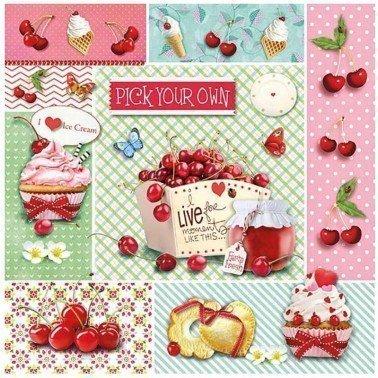 Servilletas para decoupage Red Cherries 33 X 33 cm.