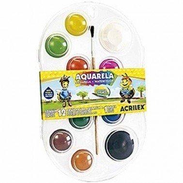 Acuarela escolar 12 colores ACRILEX