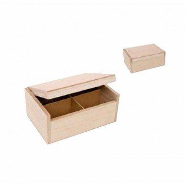 Caja de madera 4 compartimentos 22x15x9.5cm