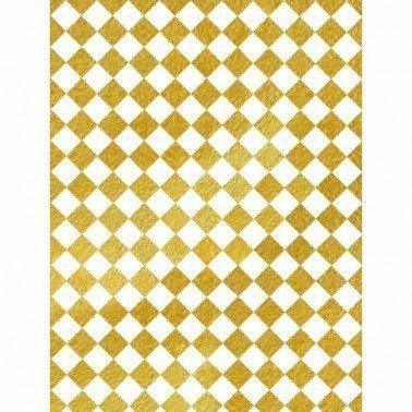 Papel de arroz decorado Fondo ORO DAMERO CADENCE, 30 x 41 cm.