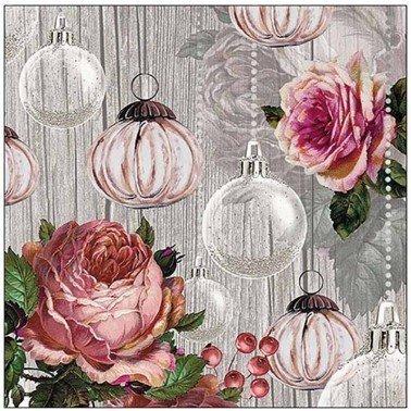 Servilletas para decoupage Roses and Baubles 33 X 33 cm.