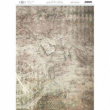 Papel de arroz decorado MAPA 29,7X42cm. ARTIS DECOR