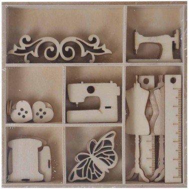 Set maderitas COSTURA 45 piezas, ARTIS DECOR.