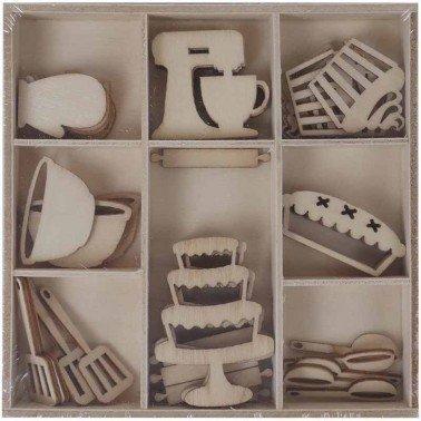 Set maderitas REPOSTERÍA 45 piezas, ARTIS DECOR.