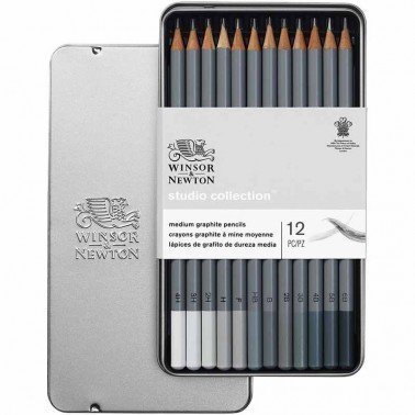 Surtido 12 lápices de grafito medianos Winsor & Newton