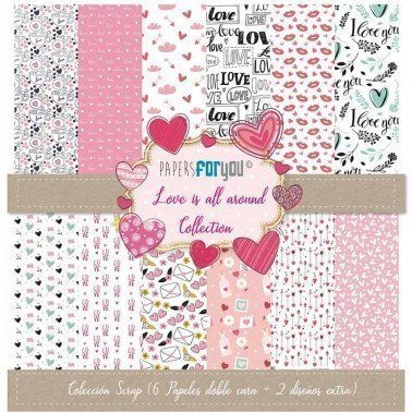 COLECCION SCRAP LOVE IS ALL AROUND 6 PAPELES + 2 DISEÑOS EXTRA PAPERS FOR YOU