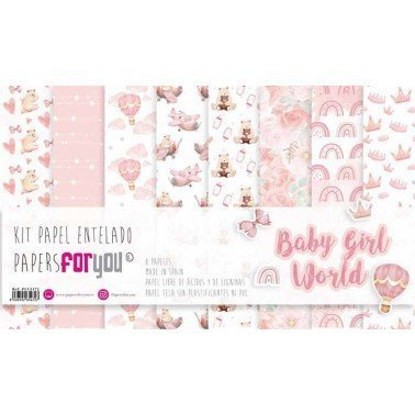 KIT PAPEL TELA BABY GIRL WORLD 8 papeles 125g PAPERS FOR YOU