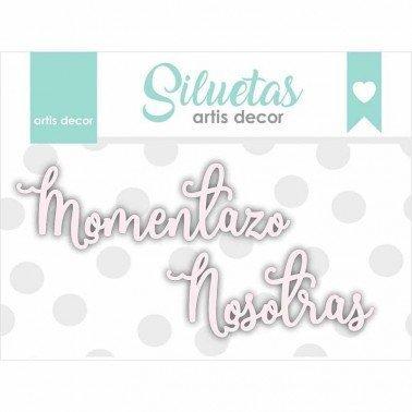 Chipboard palabras Momentazo y Nosotras.