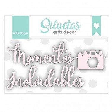 Chipboard palabras Momentos inolvidables + una cámara de fotos.