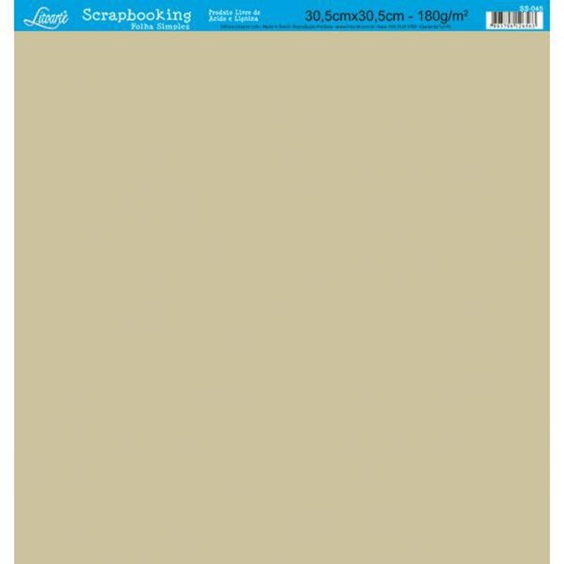 Papel Scrap sencillo marrón, medidas 30,5 x 30, 5 cm.