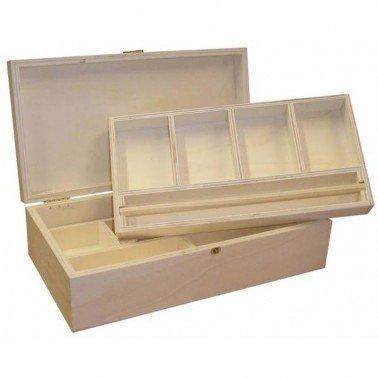 Caja joyero madera 2 bandejas.