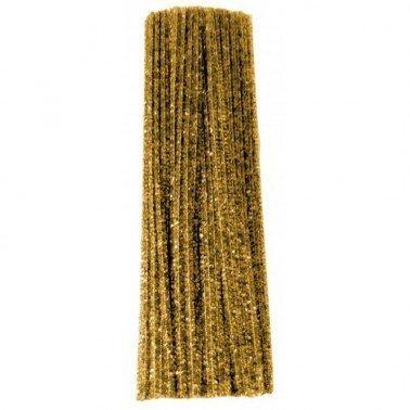 Limpiapipas- Chenilla Oro Barrilito bolsa 12 unidades.