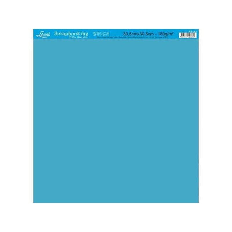 Papel Scrap sencillo azul Litoarte medidas 30,5 x 30,5 cm.