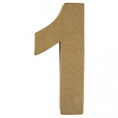 Número 1, Papel Mache/Cartón 15 x 9,4 x 3 cm.