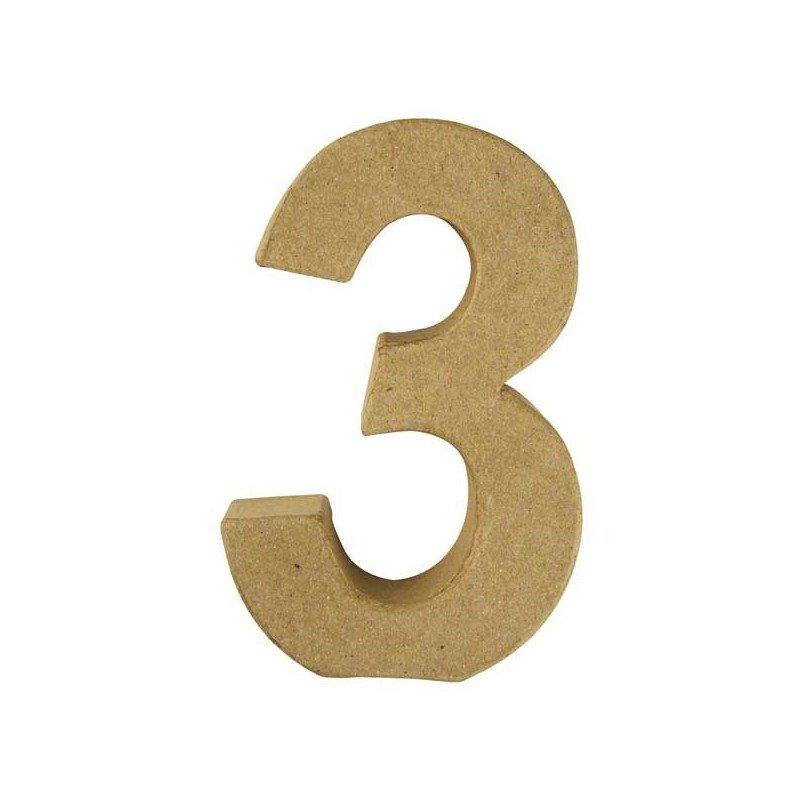 Número 3, Papel Mache/Cartón 15 x 9,4 x 3 cm.