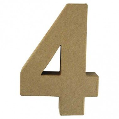 Número 4, Papel Mache/Cartón 15 x 10,5 x 3 cm.