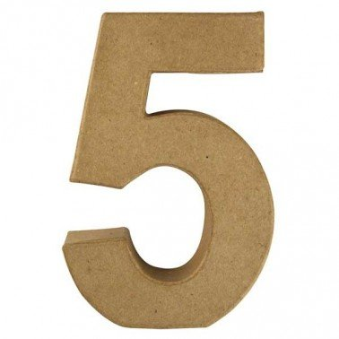 Número 5, Papel Mache/Cartón 15 x 10 x 3 cm.