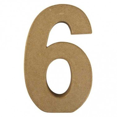 Número 6, Papel Mache/Cartón 15 x 9,4 x 3 cm.