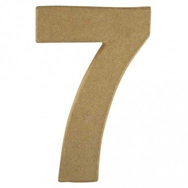 Número 7, Papel Mache/Cartón 15 x 9,4 x 3 cm.