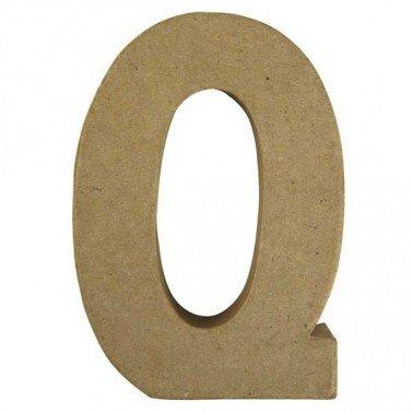 Letra Q, Papel Mache/Cartón 15 x 10,5 x 3 cm.
