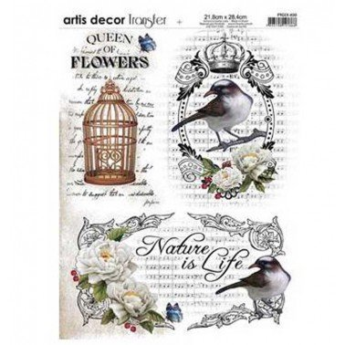 Papel transfer Queen of flowers Artis Decor, 28,4  x 21,8 cm.