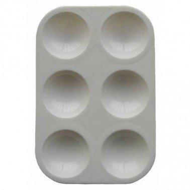 Paleta plástico rectangular para pintar, 6 pocillos.
