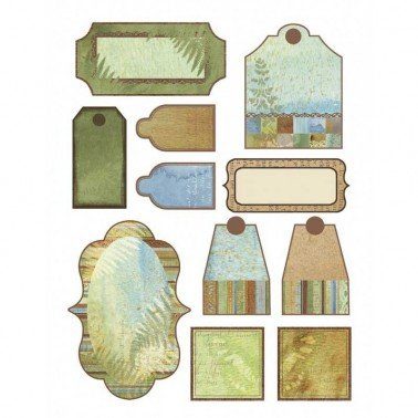 Etiquetas recortables scrap A4, NATURE,S WATERCOLORS, 11 pzs.