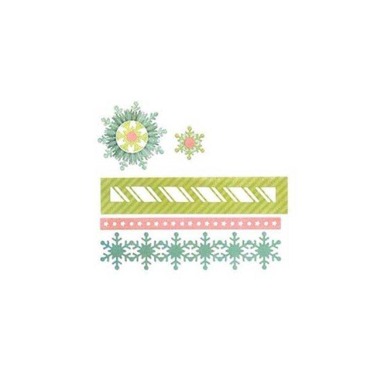 Set 9 troqueles Sizzix THINLITS Winter borders & rosette by Paula Pascual.