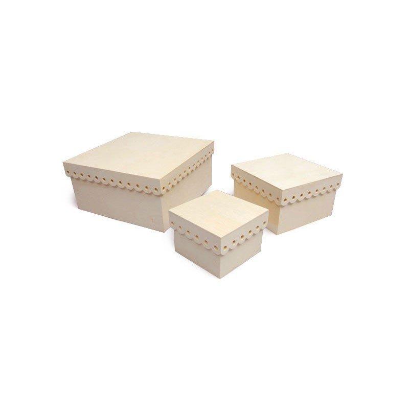 Set 3 cajas de madera blonda.