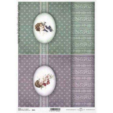 Papel de arroz decorado A4, CUADRO SEÑORITAS 2, 21 x 29,7 cm.