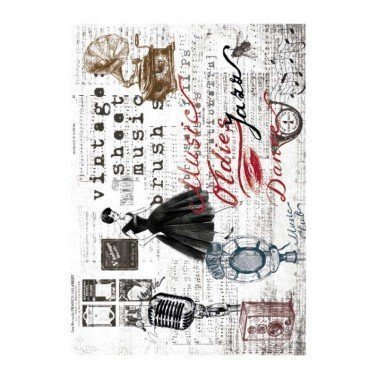 Papel de arroz decorado JAZZ MUSIC OLDIES CADENCE, 30 x 41 cm.