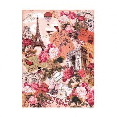 Papel de arroz decorado PARIS ROSA CADENCE, 30 x 41 cm.