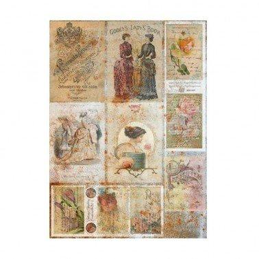 Papel de arroz decorado POSTALES ANTIGUAS CADENCE, 30 x 41 cm.