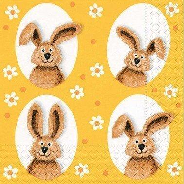 Servilletas para decoupage Bunnies in Small Flowers 33 X 33 cm.