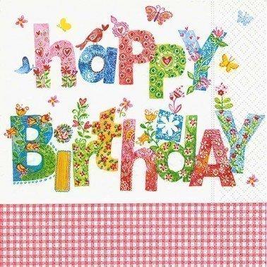 Servilletas para decoupage Birthday Greetings 33 X 33 cm.