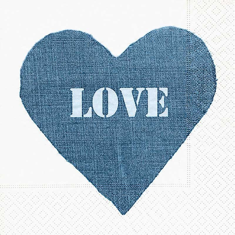 Servilletas para decoupage Jeans Heart 33 X 33 cm.