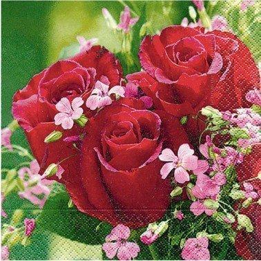 Servilletas para decoupage Bouquet de Roses 33 X 33 cm.