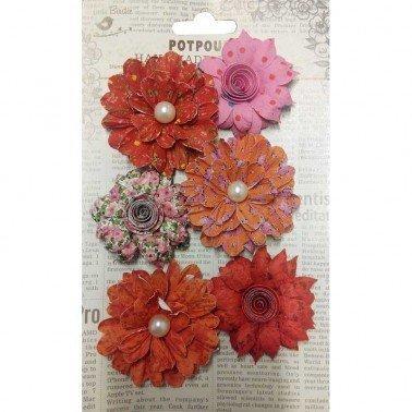 Flores de papel Potpourri - FLORES ROJAS 6 flores 5 y 6 cm.