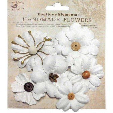 Flores de papel Boutique elements - 6 FLORES BLANCAS  4 y 6 cm.