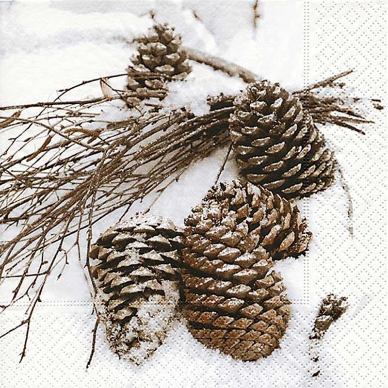 Servilletas para decoupage Cones in snow 33 X 33 cm.