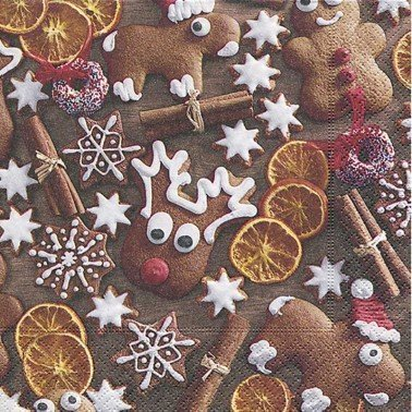 Servilletas para decoupage Gingerbread cookies 33 X 33 cm.