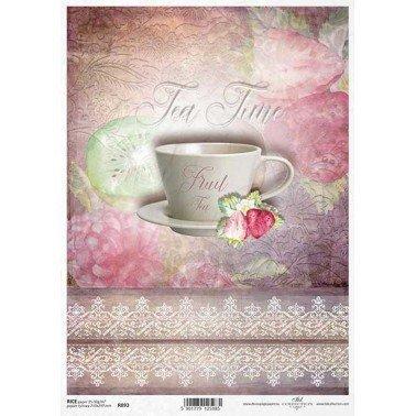 Papel de arroz decorado A4, FRUIT TEA TONOS ROSAS, 21 x 29,7 cm.